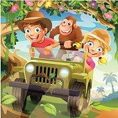 Funny Vector Cartoon Children driving in Off-Road Car through Jungle