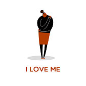 Funny vector cartoon illustration of women hugging herself. I love me. Isolated on white. Bodypositive concept.