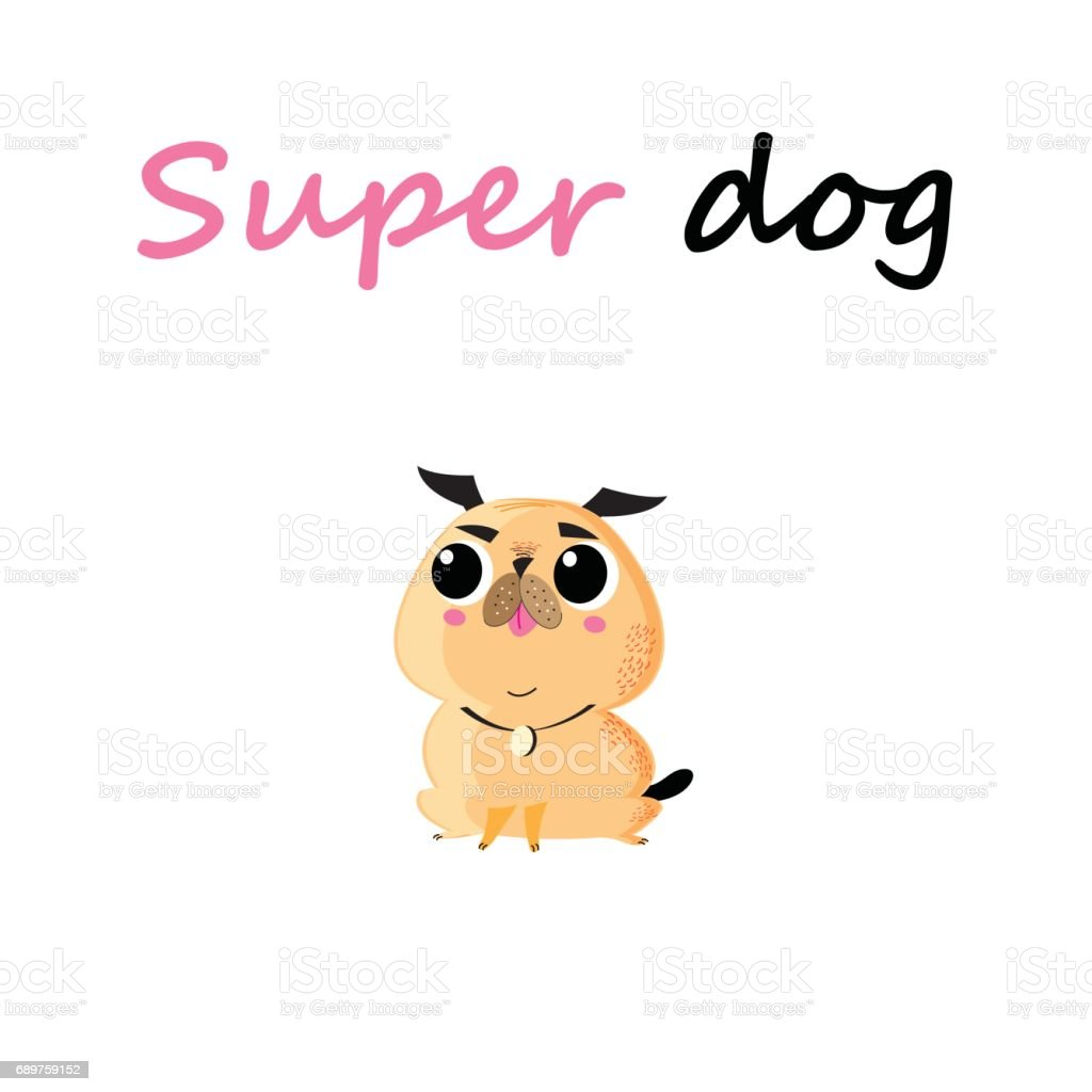 Funny vector cartoon small dog vector art illustration