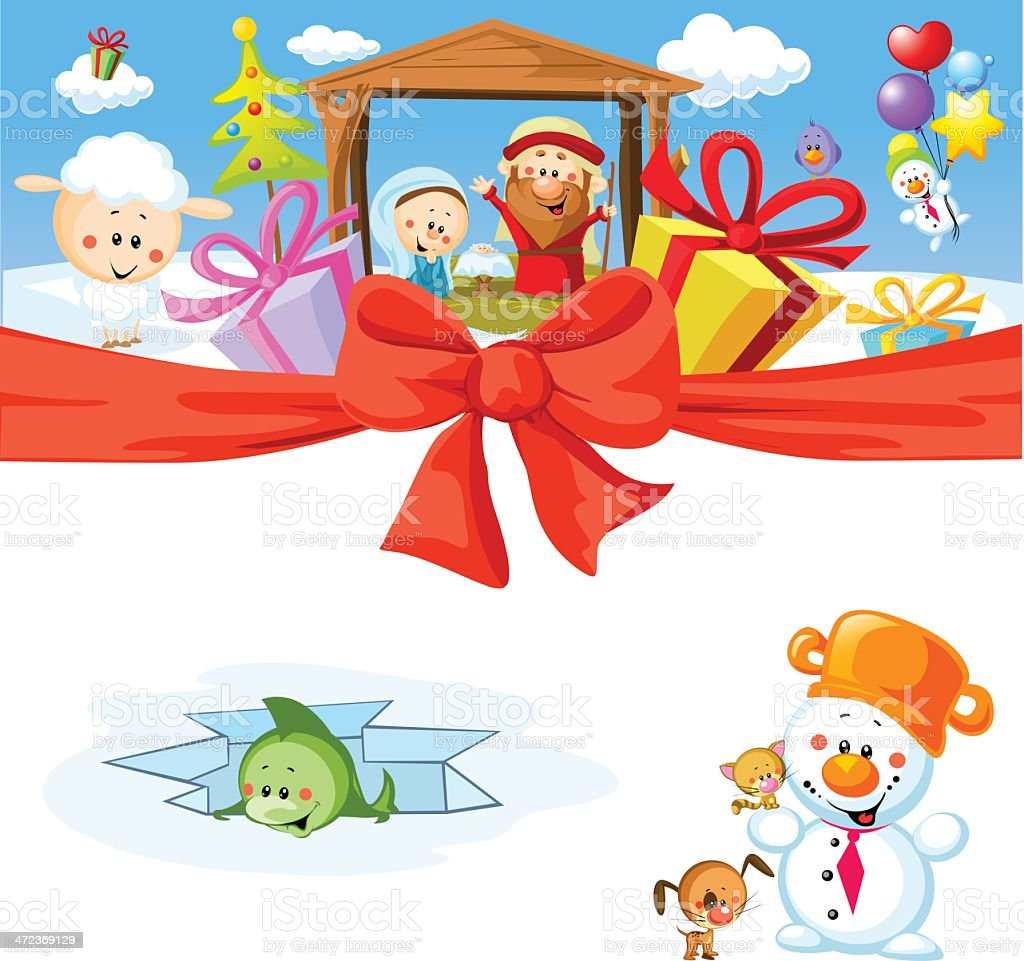 funny vector christmas design with nativity royalty-free stock vector art