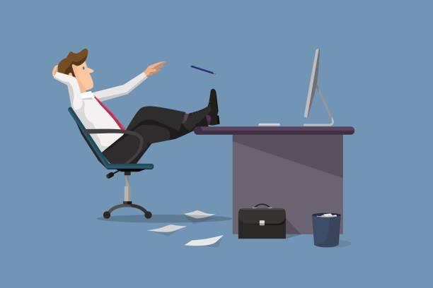 lustige vektor illustration geschäftsmann entspannung zwischen arbeit - möbelfüße stock-grafiken, -clipart, -cartoons und -symbole