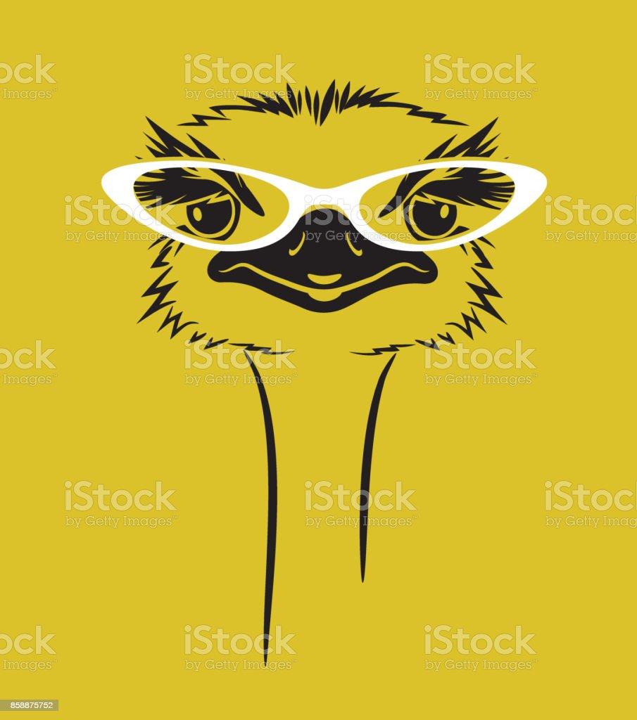 illustration vectorielle drôle d'une autruche portant des lunettes. Pour t-shirt, affiche, conception d'impression - Illustration vectorielle
