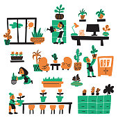 Funny vector illustration of gardeners, taking care about office plants. Office plantscaping concept. Doodle style