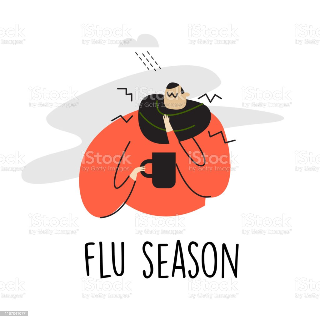 Funny Vector Illustration Of Sick Man With Sore Throat Taking Cup Flu Season Stock Illustration Download Image Now Istock