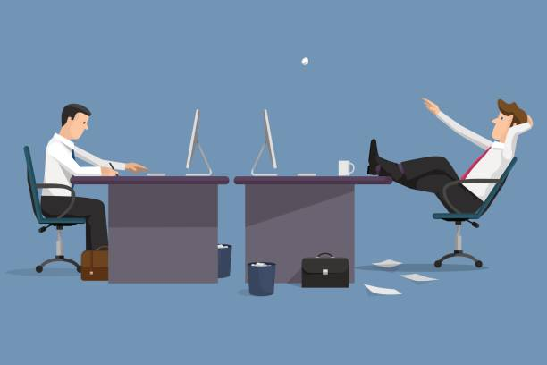 lustige vektor illustration zwei manager im büro - möbelfüße stock-grafiken, -clipart, -cartoons und -symbole