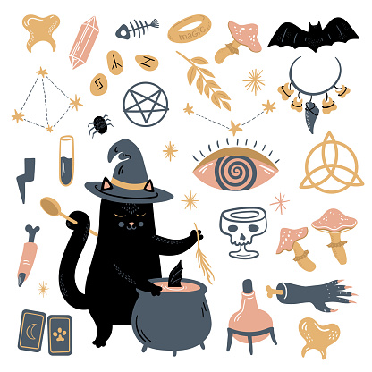 Funny vector magic collection with witchcraft and occultism symbols: black cat, skull, witch's cauldron, Constellations, rune, mushroom, tarot, necklace with teeth, bat, shamrock, moon, crystals, stars, tarot, test-tubes. Hand drawn illustration, flat and