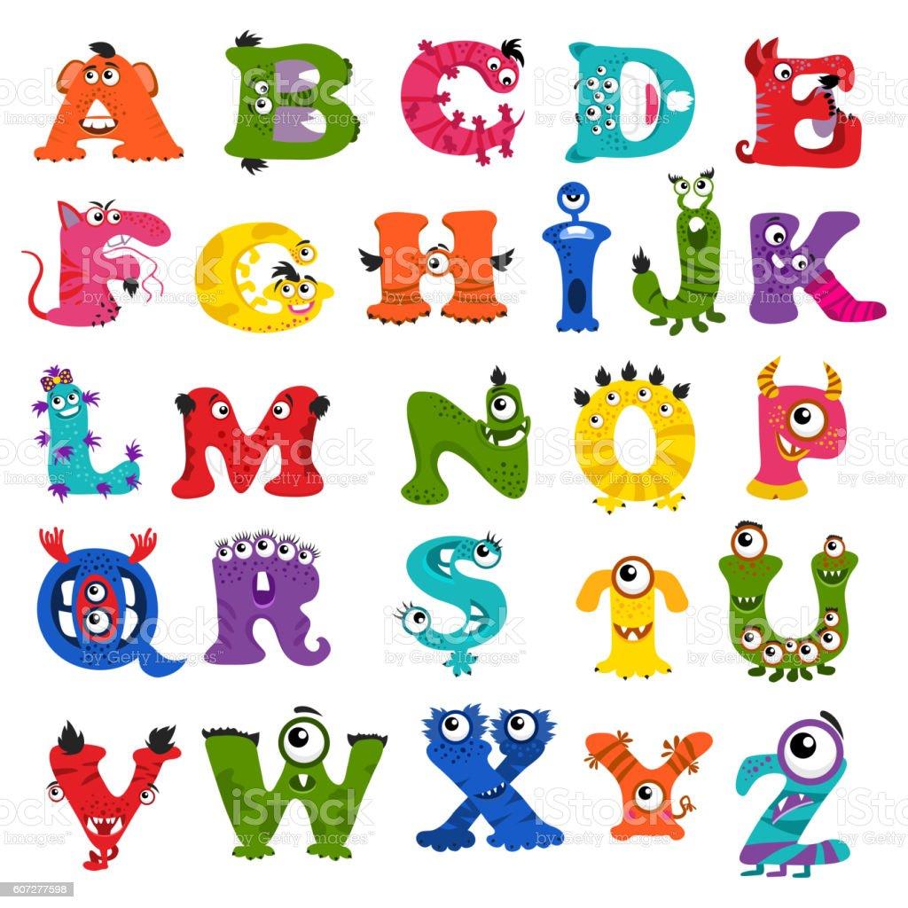 Funny Vector Monster Alphabet For Kids Stock Vector Art ...