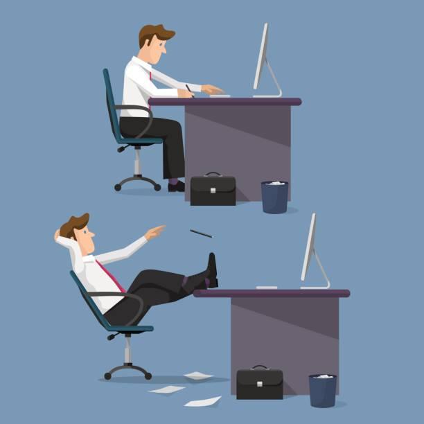 lustige vektor-set von managern im büro - möbelfüße stock-grafiken, -clipart, -cartoons und -symbole