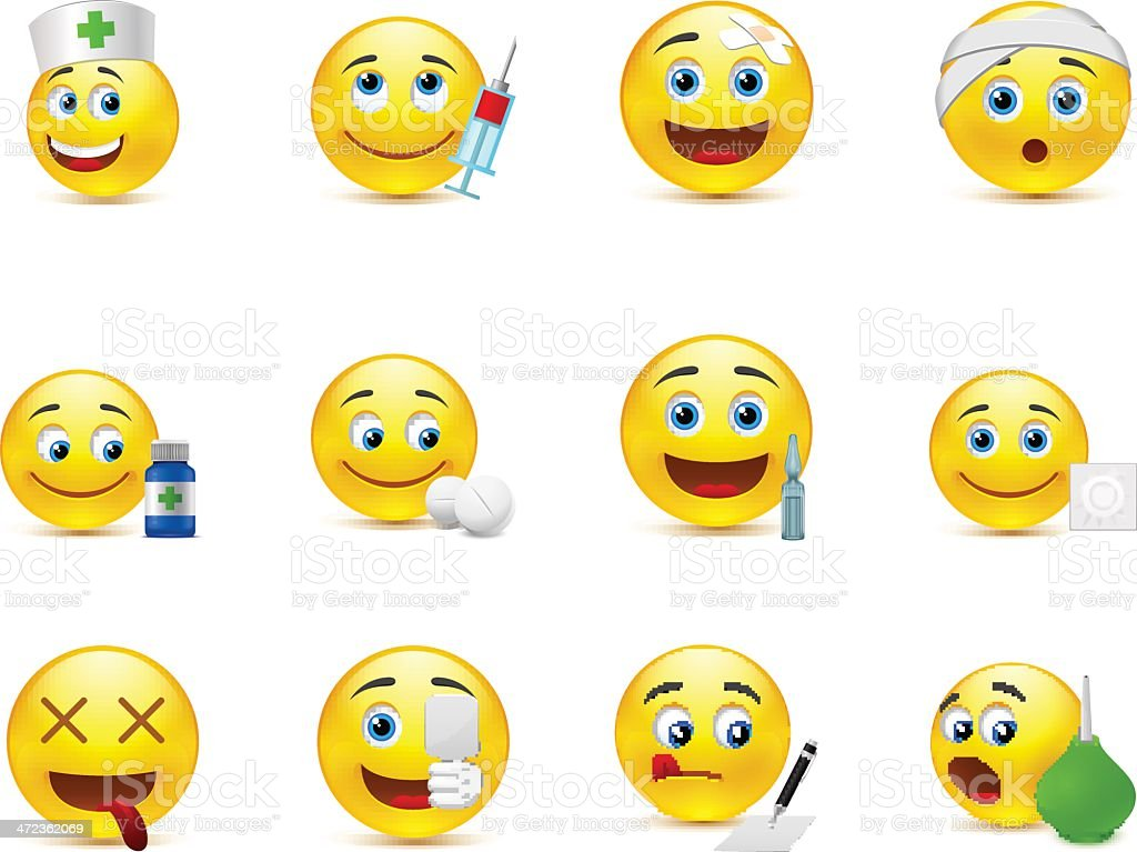 Funny vector smileys set to the medical thematics royalty-free stock vector art