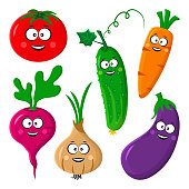 Funny vegetable emoticon. Stylized character.Tomato, cucumber, carrot, beetroot or radish, eggplant, onion. Vector illustration