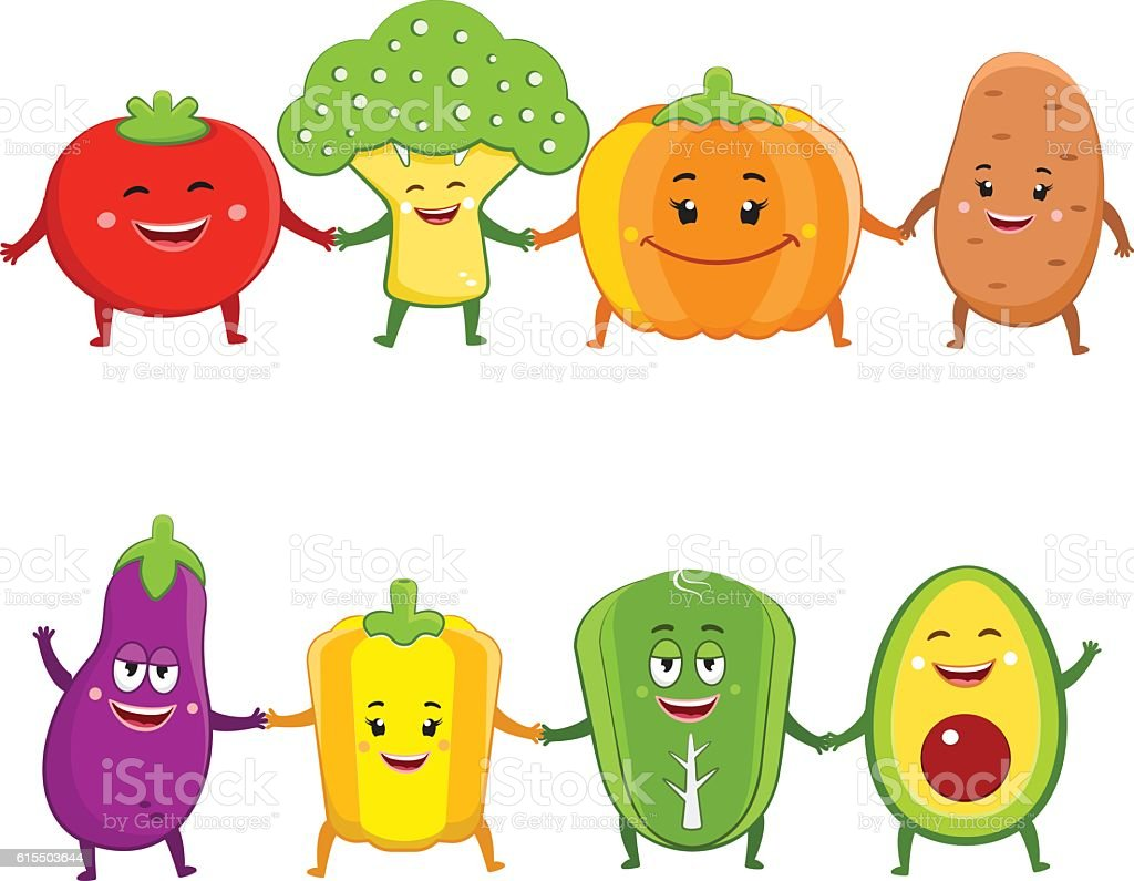 Funny vegetables characters cartoon illustration vector art illustration