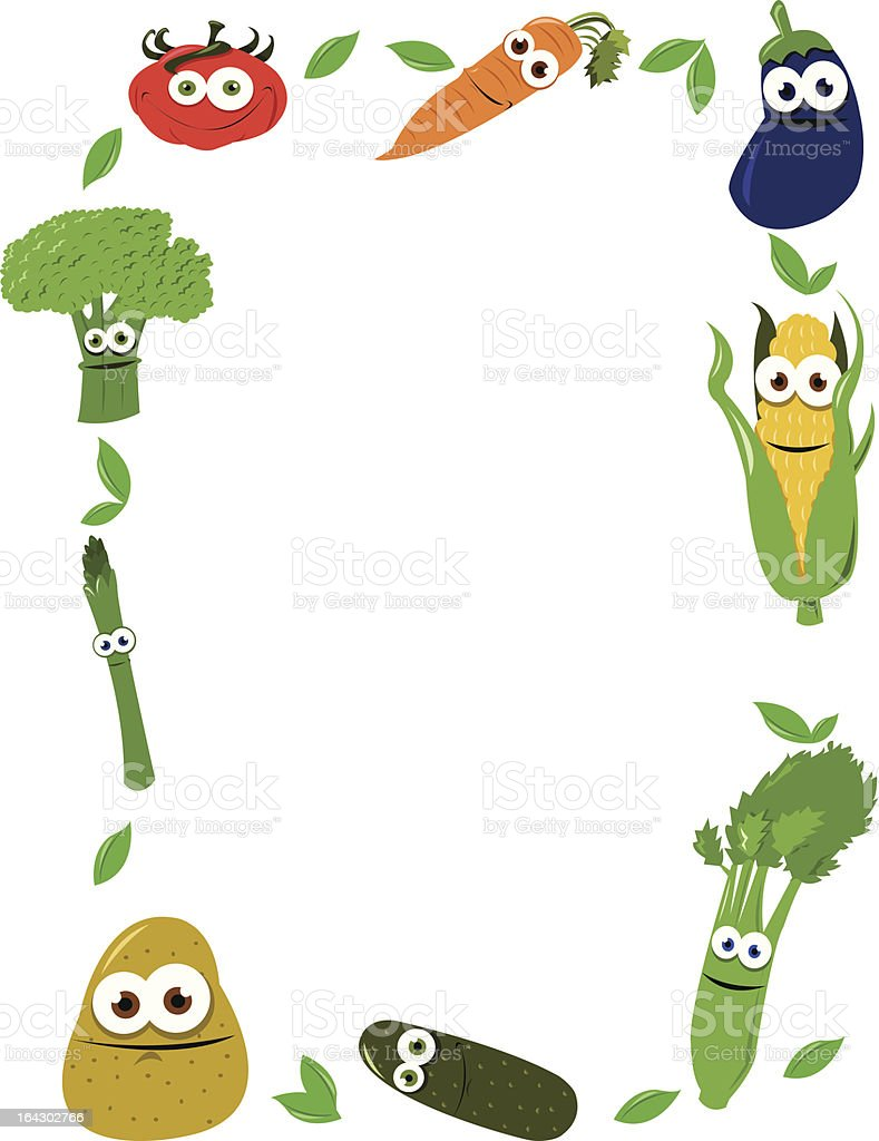 Funny Vegetables Frame Stock Vector Art & More Images of ...