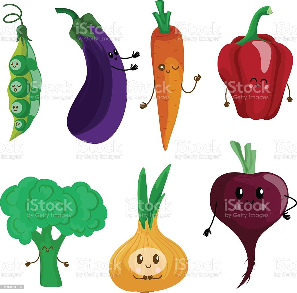 Funny vegetables: peas, eggplant, carrots, peppers, lettuce, oni vector art illustration