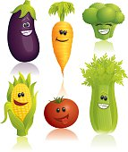Set of vegetables with funny faces. High res JPG of each illustration included.