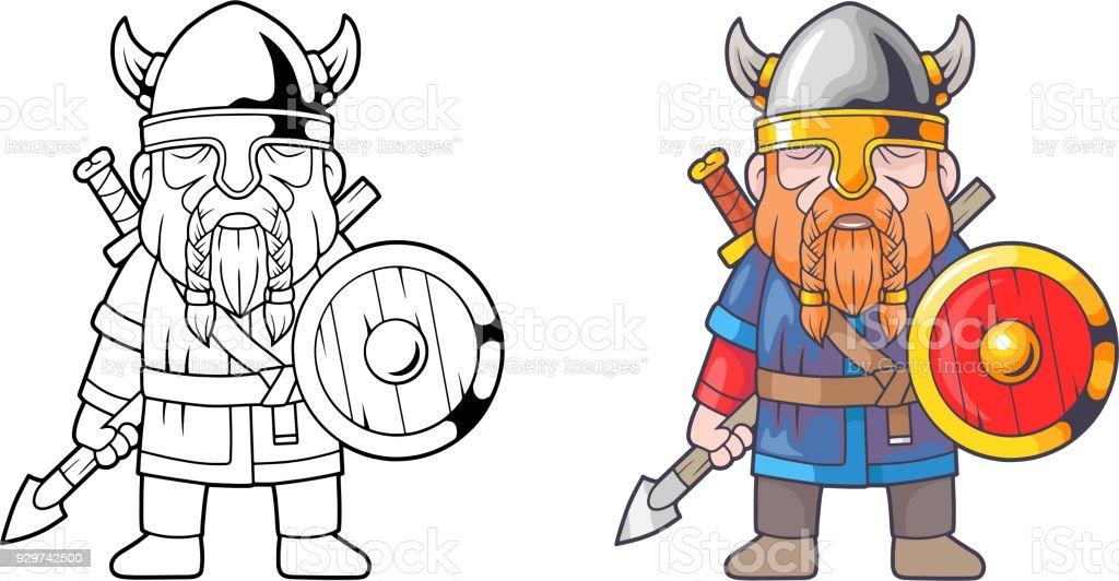 Komik Viking Boyama Kitabi Stok Vektor Sanati Askeri Kask Nin