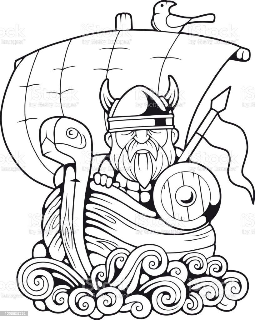Komik Viking Boyama Kitabi Gemi Yuzer Stok Vektor Sanati