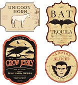 Funny vintage colored Halloween potion labels.