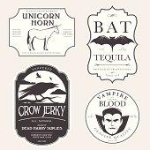 Funny vintage Halloween potion labels