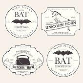 Funny vintage Halloween potion labels.