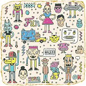 Funny Wacky Doodle Characters Set 12. Vintage Texture. Vector Illustration.