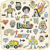 Funny Wacky Doodle Characters Set 14. Vintage Texture. Vector Illustration.