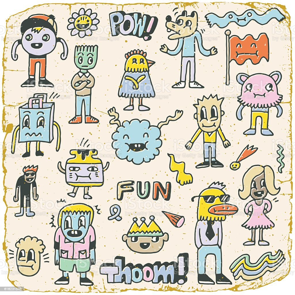 Funny Wacky Doodle Characters Set 5. Vintage Texture. Vector Illustration.