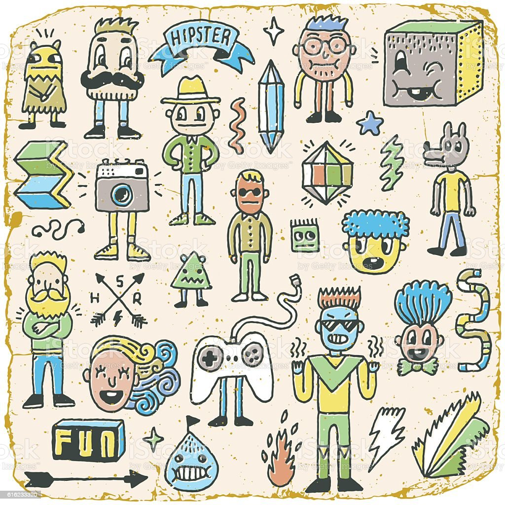 Funny Wacky Doodle Hipster Characters Set 2. vector art illustration