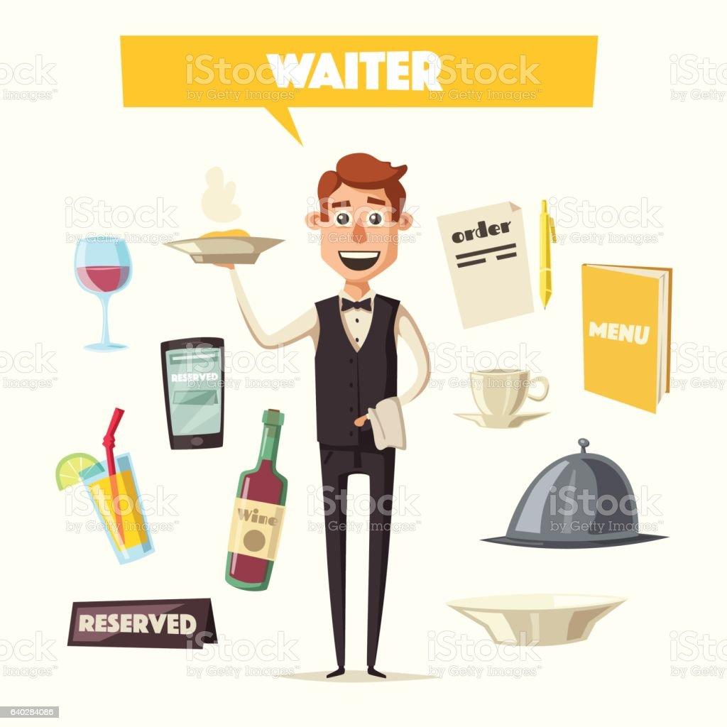 Funny waiter, cute character. Vector cartoon illustration vector art illustration