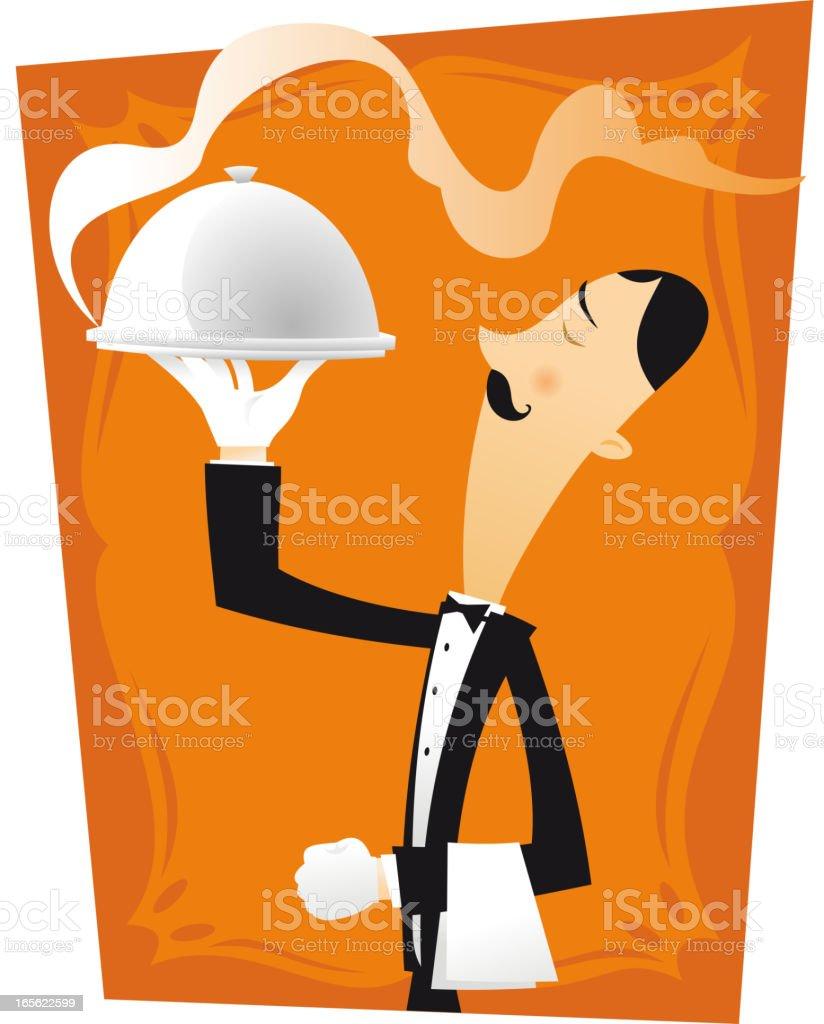 Funny waiter vector art illustration