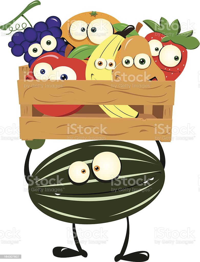 Funny Watermelon with a Box of Fruit royalty-free stock vector art