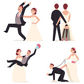 Funny wedding cake toppers vector cartoon flat icon set.
