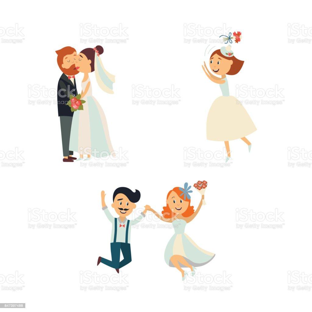 面白い結婚式のカップル キスとジャンプ - いっぱいになるのベクター