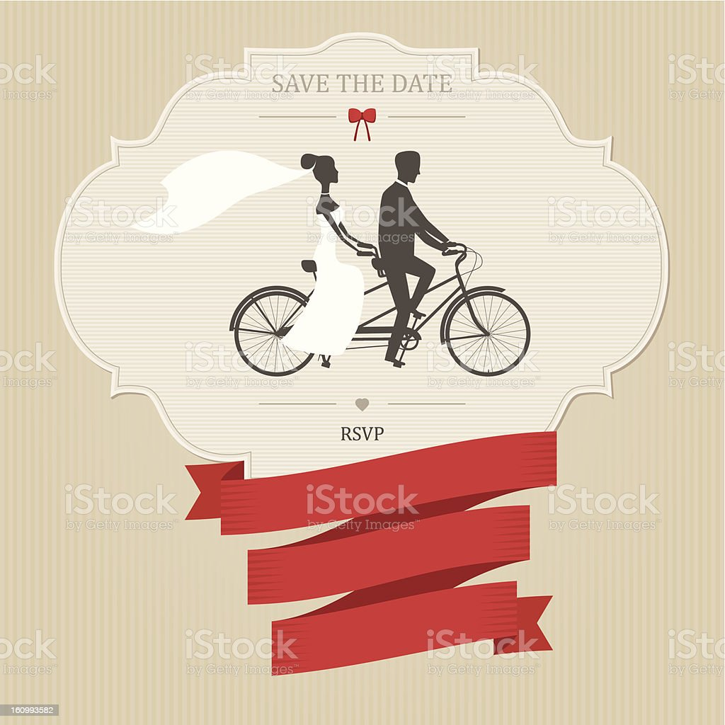 Funny wedding invitation with tandem bicycle vector art illustration