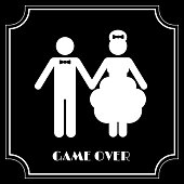 Funny Wedding Symbol - Game Over. Vector illustration