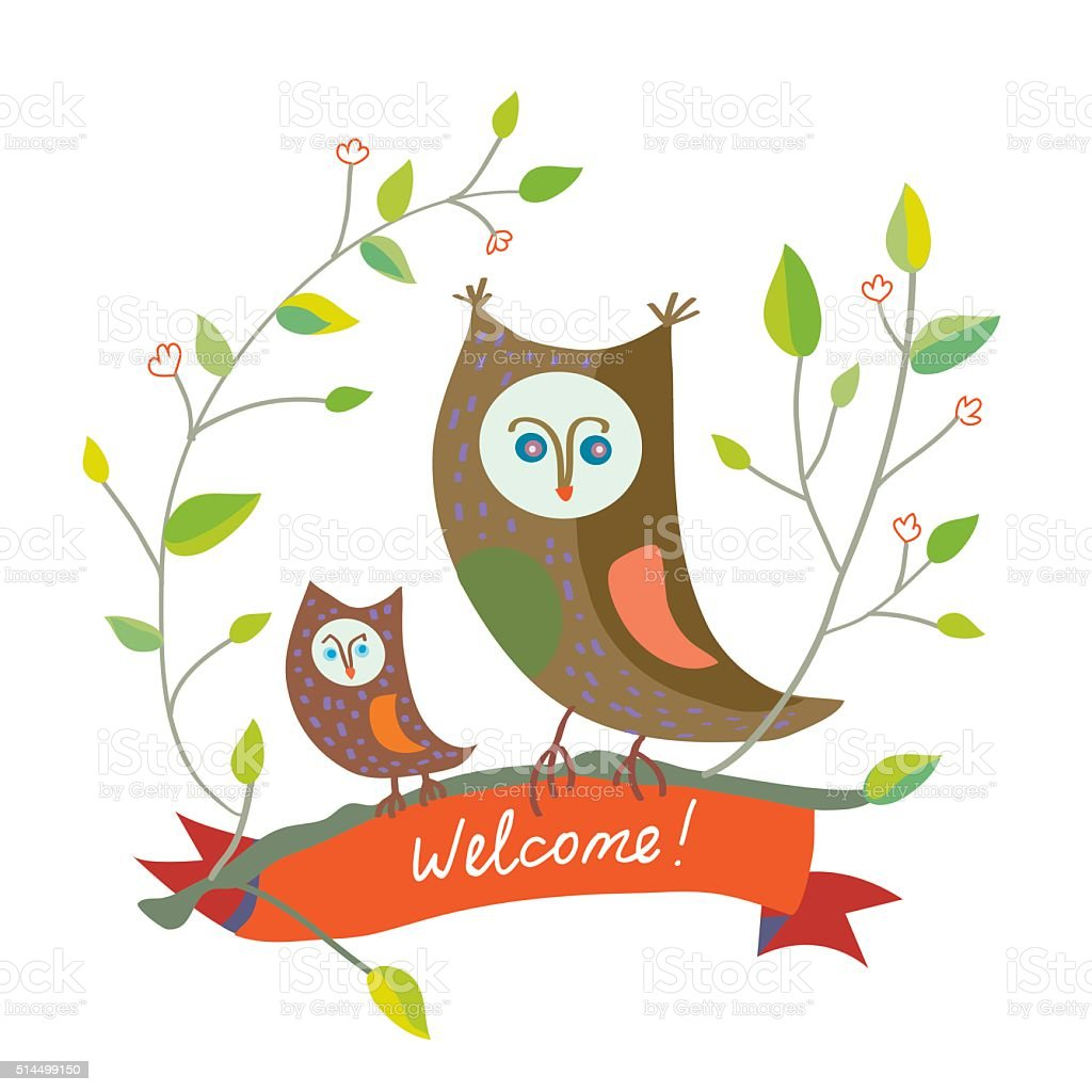 Image of: Saw Whet Funny Welcome Card With Owl Cute Design Royalty Free Funny Welcome Card With Owl Cute Funny Welcome Card With Owl Cute Design Stockvectorkunst En Meer
