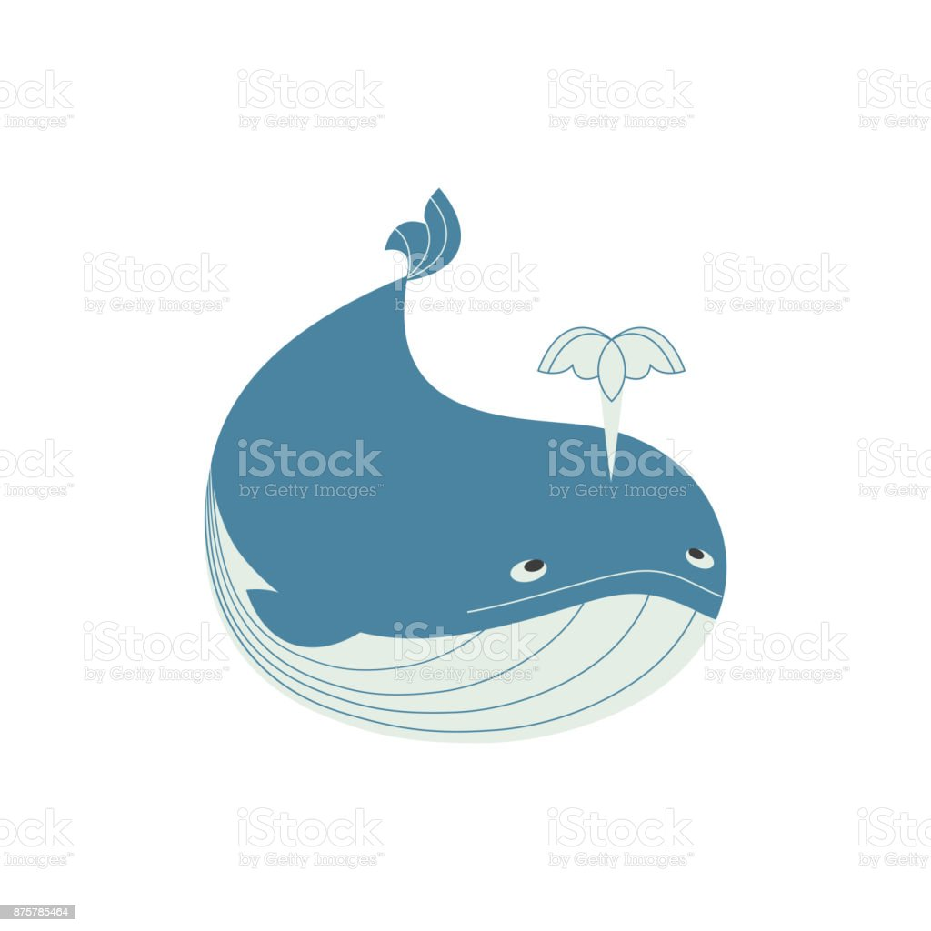 Funny whale icon vector art illustration