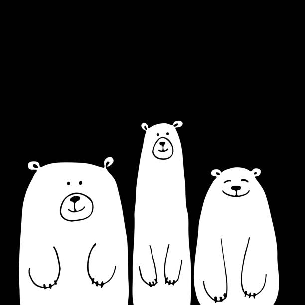 funny white bears, sketch for your design - bear stock illustrations, clip art, cartoons, & icons