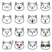Funny white cat faces