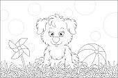 Little pup sitting on grass after a game with striped ball on a playground in a summer park, black and white vector cartoon illustration for a coloring book page