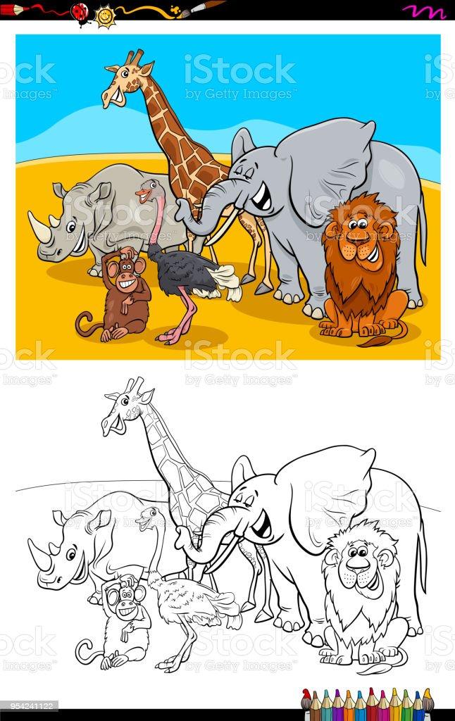 Lustige Tiere Zeichen Gruppe Farbbuch Stock Vektor Art und mehr ...