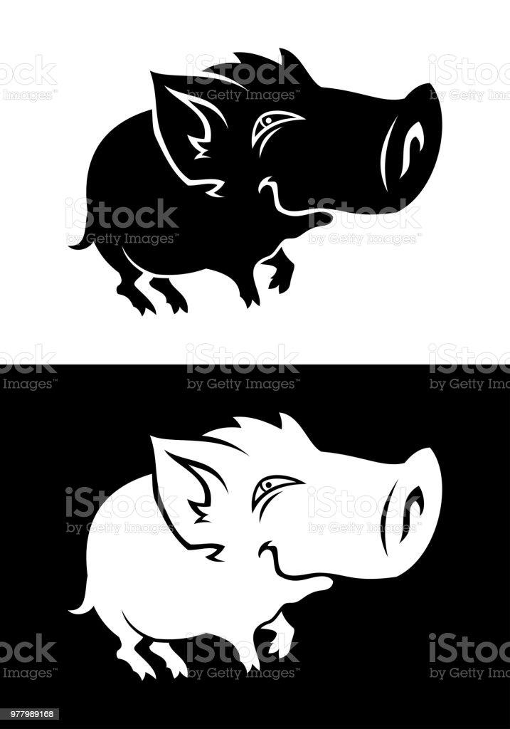 Funny Wild Boar Baby silhouette vector art illustration
