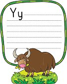 Funny wild yak, illustration for ABC. Alphabet Y