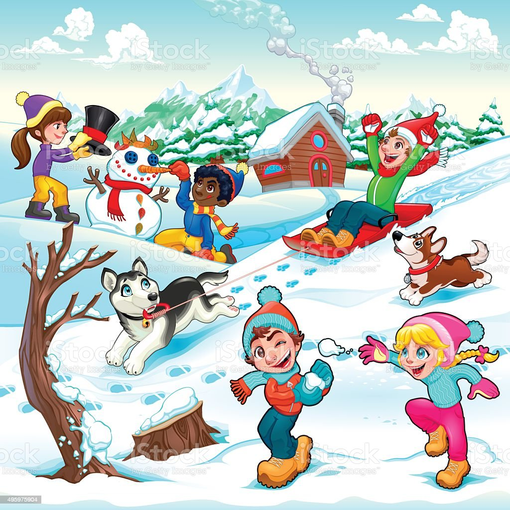 Funny Winter Scene With Children And Dogs Stock ...