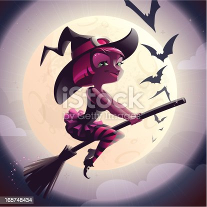 istock Funny Witch on a Broom 165748434