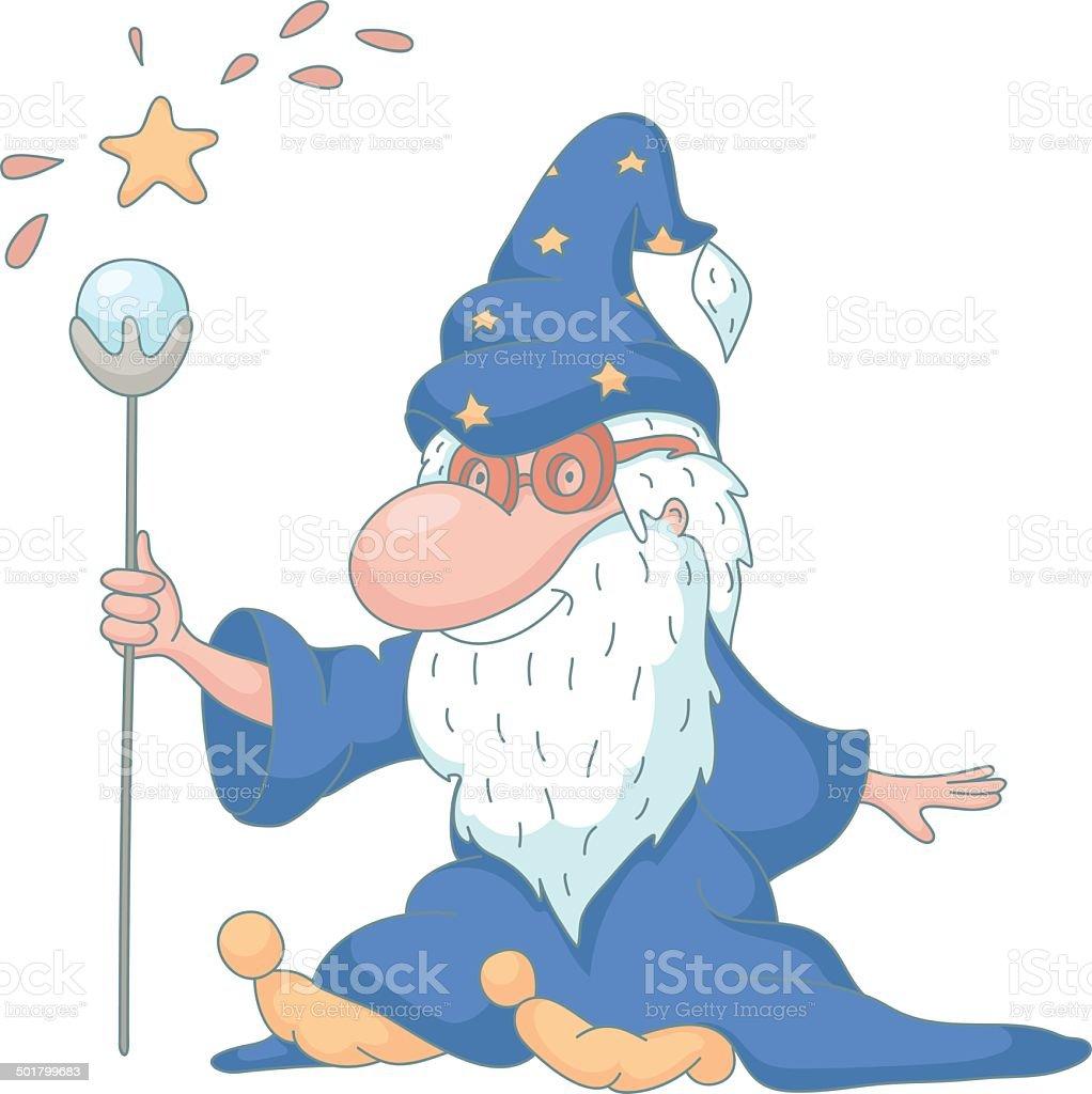 Funny wizard cartoon vector art illustration