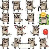 15 smiley wolves individually grouped for easy copy-n-paste.
