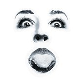 Close up of funny woman sticking out tongue. Isolated on white.