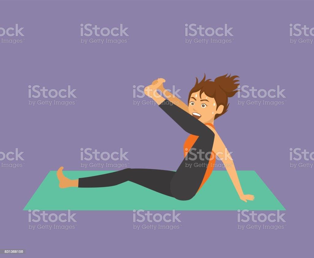 Beliebt Bevorzugt Lustige Frau Versucht Yoga Übung Bein Strecken Humor Yoga Klasse @AT_39