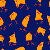 Seamless vector wallpaper repeat pattern with funny cartoon birds. Simple design with bright colors.