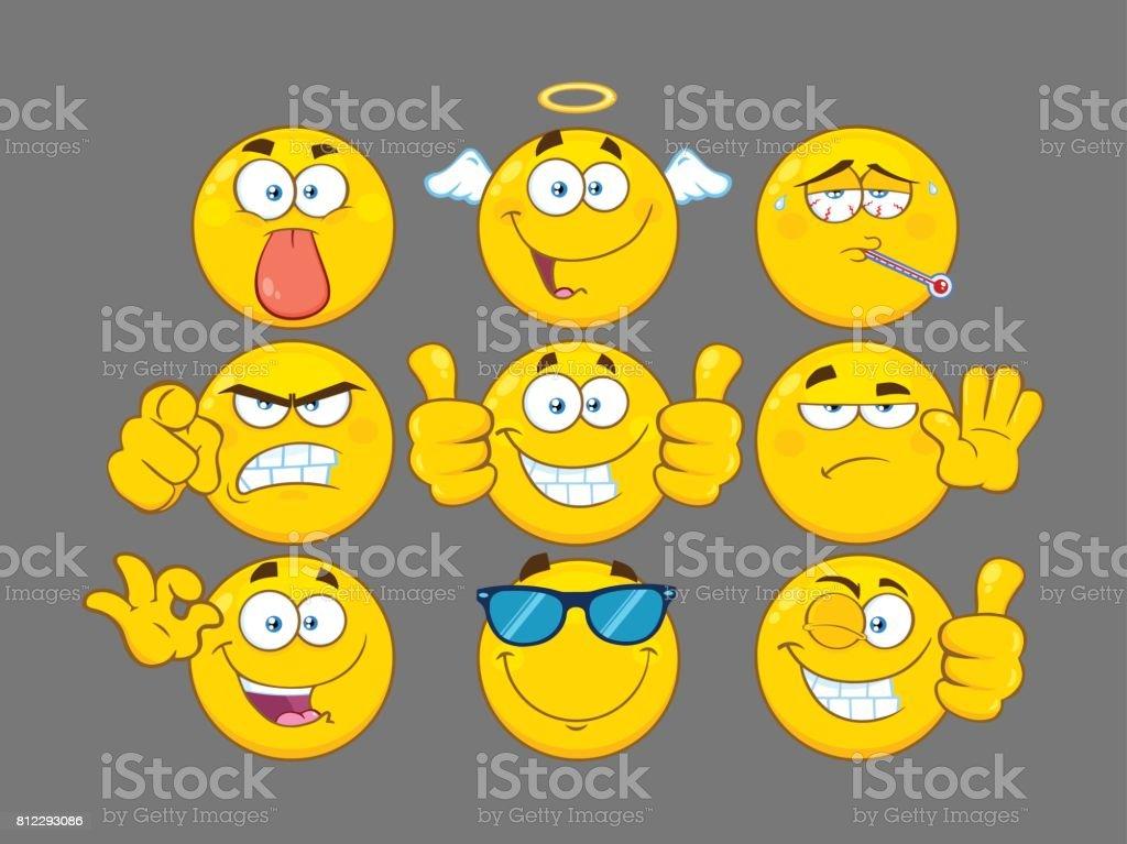 Ilustración de Juego De Divertidos Dibujos Animados Amarillo Emoji ...